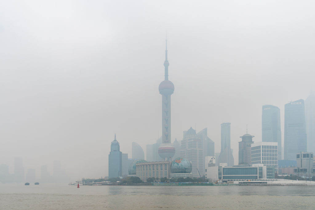 SHANGHAI, CHINA - DECEMBER 24, 2020 - The Bund is flooded by polluted weather in Shanghai, Dec. 24, 2020. Shanghai's air quality was severely polluted that day due to pollution from upstream, according to the city's official news release.- PHOTOGRAPH BY Costfoto / Barcroft Studios / Future Publishing