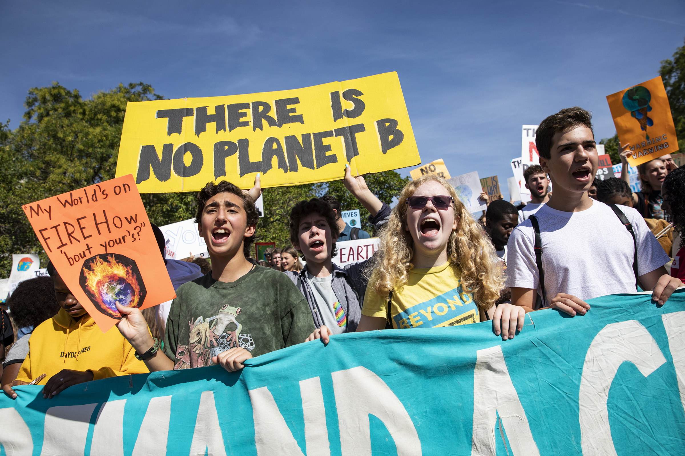 Activists gather in John Marshall Park for the Global Climate Strike protests in Washington, D.C. on Sept. 20, 2019.