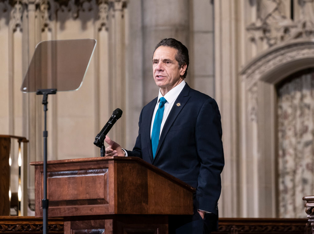 New York Governor Andrew Cuomo discusses the state's vaccine distribution plan at Riverside Church in New York City on Nov. 15, 2020.