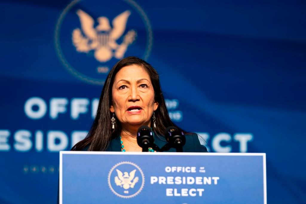 Congresswoman Deb Haaland delivers remarks after being introduced as U.S. President-elect Joe Biden's nominee to be the next U.S. Secretary of Interior at the Queen Theater on Dec. 19, 2020, in Wilmington, Delaware.