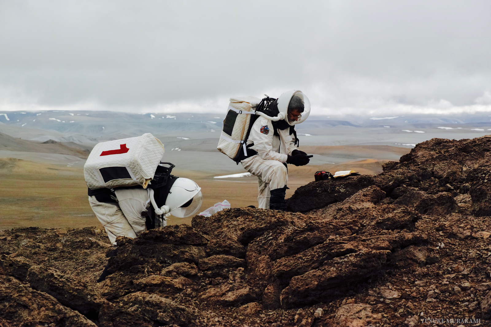 Mars simulation participants at Devon Island in the Canadian Arctic
