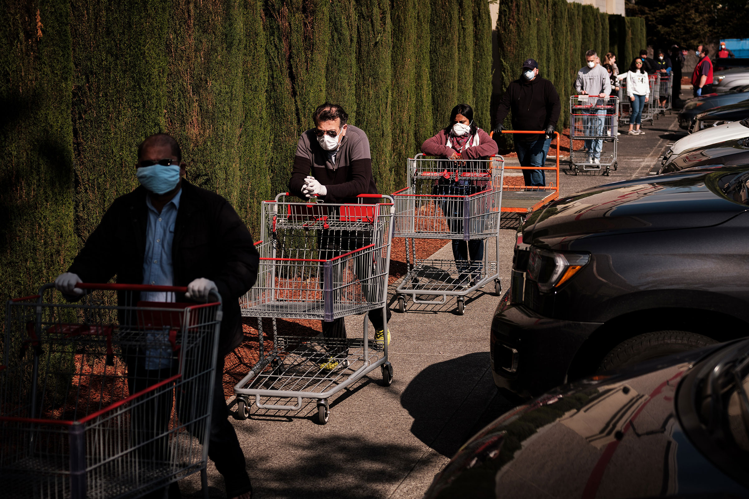 Shoppers outside a grocery store in Livermore, Calif., on April 10