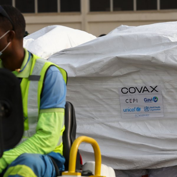 A shipment of COVID-19 vaccines from the COVAX vaccination program, at the Kotoka International Airport in Accra, on Feb. 24, 2021.