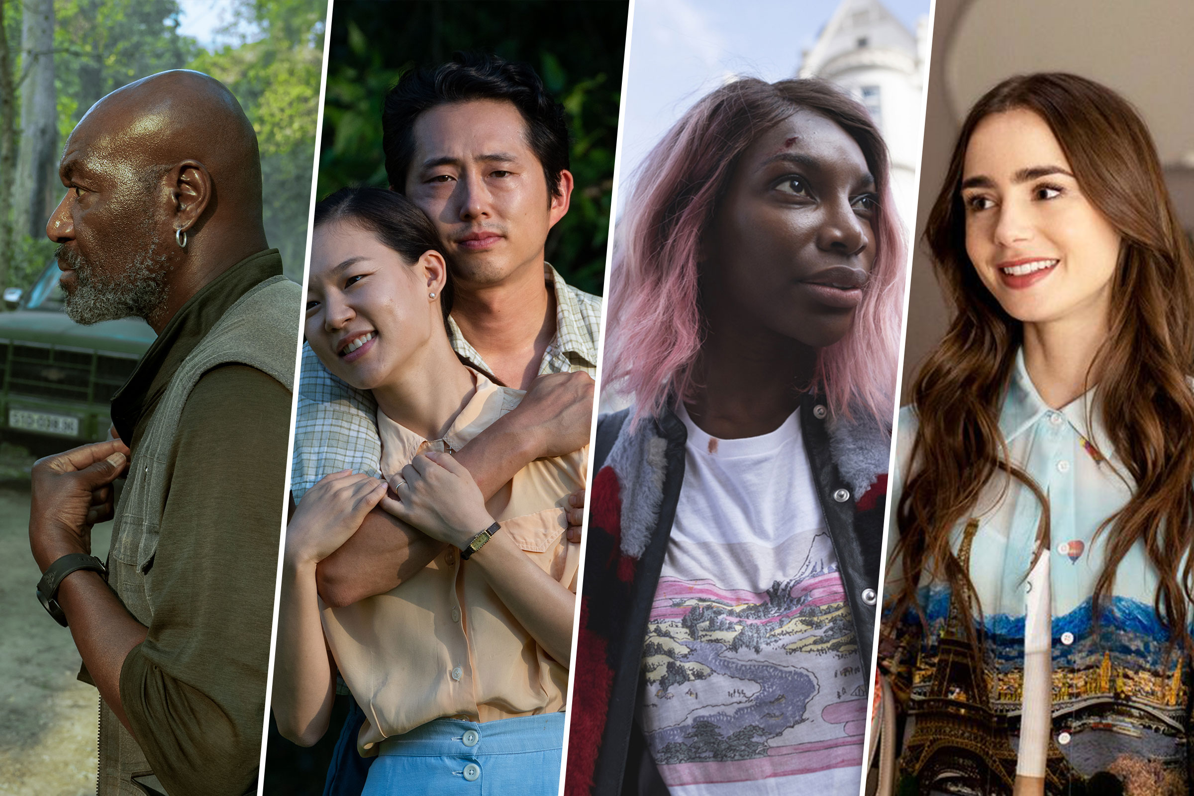 Delroy Lindo in Da 5 Bloods; Yeri Han and Steven Yeun in Minari; Michaela Coel in I May Destroy You; Lily Collins in Emily in Paris