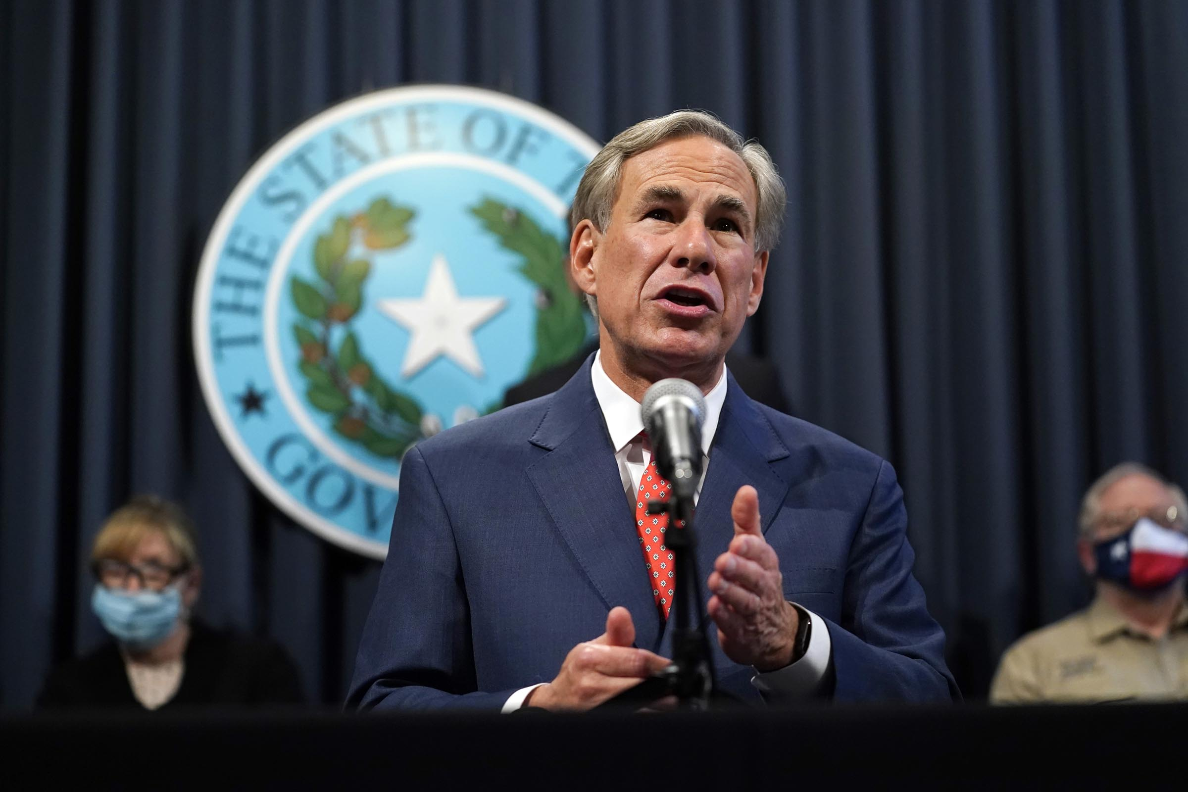 Texas Gov. Greg Abbott speaks during a news conference where he provided an update to Texas' response to COVID-19 in Austin, Texas on Sept. 17, 2020.