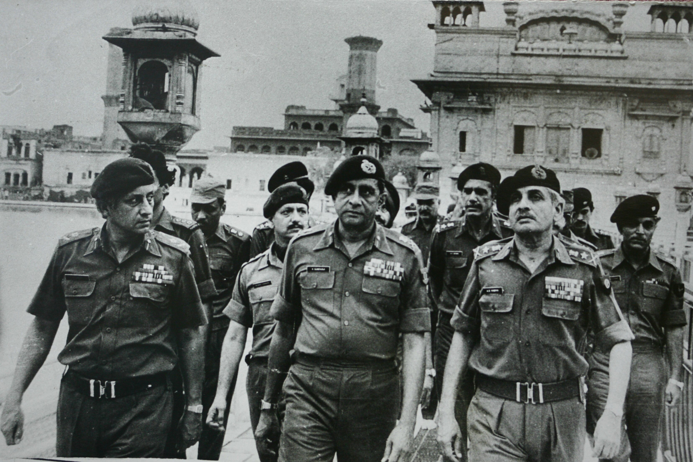 Senior army officers at the site of a military operation ordered by Then-Prime Minister Indira Gandhi, to remove Sikh separatists in the Golden Temple in Amritsar, India, in 1984.