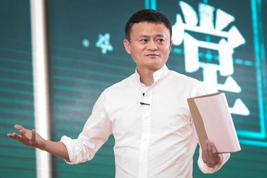 Jack Ma, the founder  of Alibaba Group, gives a speech on Jan. 7, 2020 in Sanya, Hainan province, China.