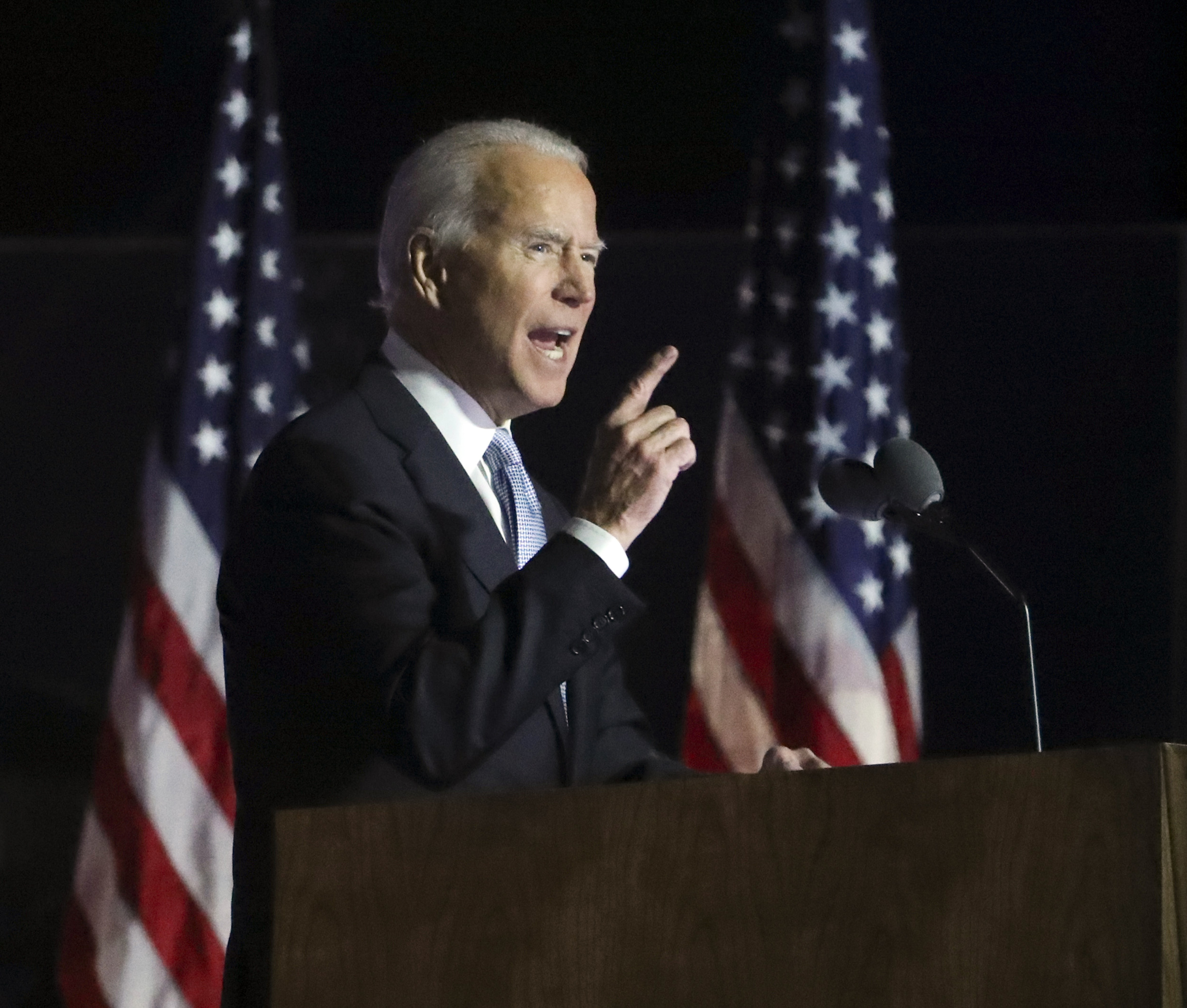 President Joe Biden delivers a victory speech outside the Chase Center in Wilmington, Del. on Nov. 7, 2020.