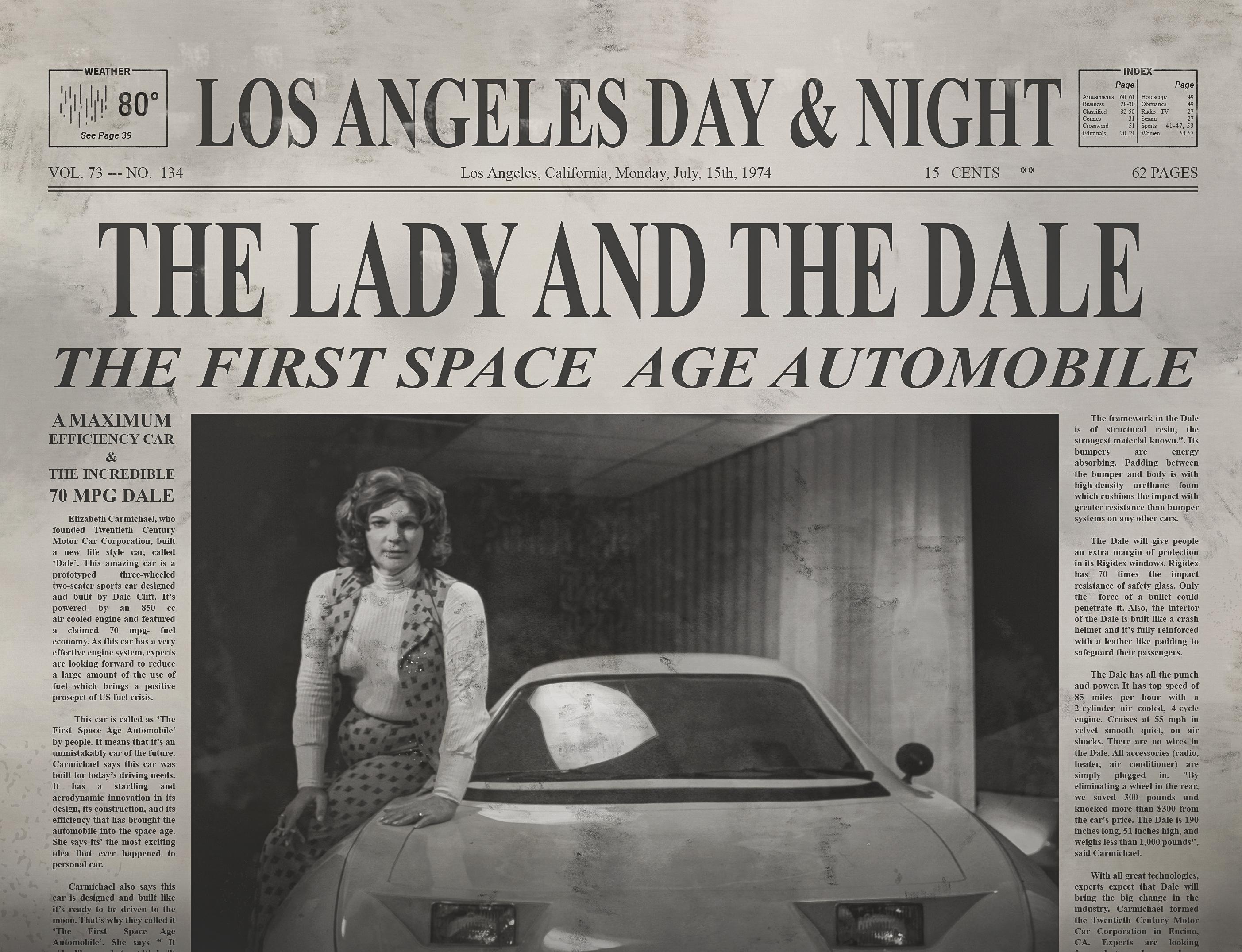 Elizabeth Carmichael posing next to Dale automobile
