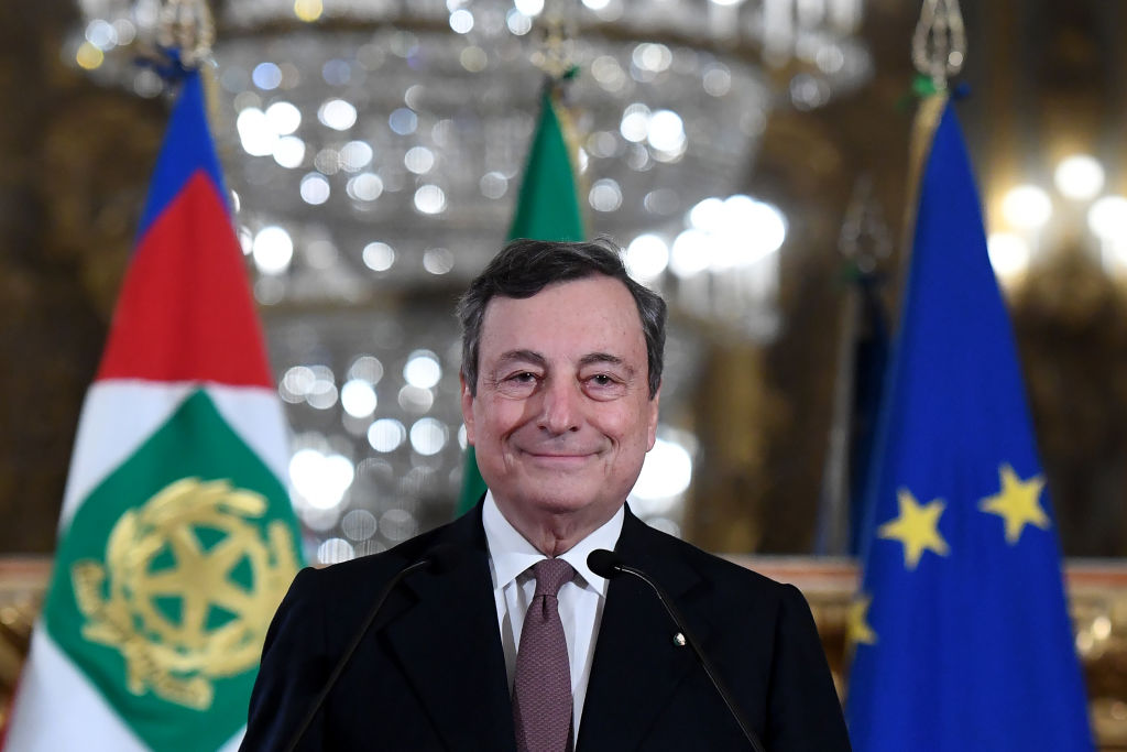 Mario Draghi, Italy's prime minister-designate, smiles at a news conference following a meeting with Italy's President Sergio Mattarella in Rome, Italy, on Friday, Feb. 12, 2021. Draghi agreed to take over as Italys next prime minister, naming his ministers as he prepares to head a new government that will prioritize the pandemic, a struggling economy and moving ahead with European integration.