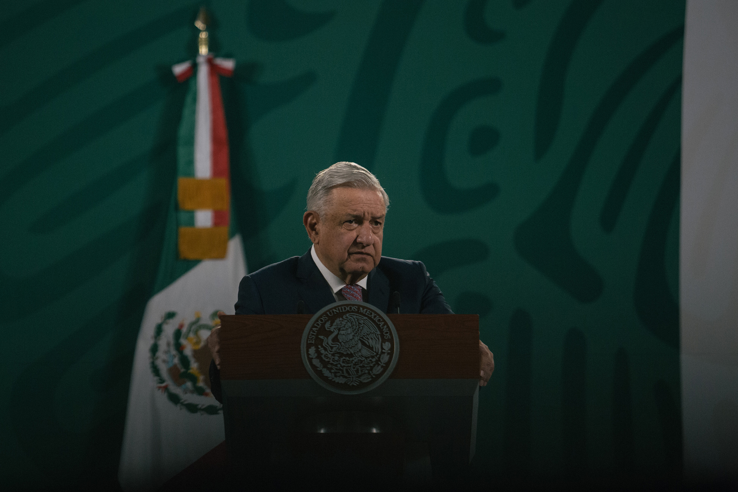 President Andrés Manuel López Obrador speaks during a news conference in Mexico City on Feb. 8. This was his first briefing after announcing he had Covid-19 and began a quarantine.