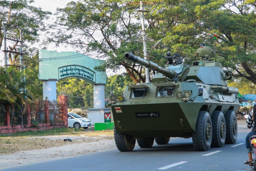 A military armoured vehicle is seen along a street in Myitkyina, Kachin State on February 2, 2021, as Myanmar's generals appeared in firm control a day after a surgical coup that saw democracy heroine Suu Kyi detained. (Photo by STR / AFP) (Photo by STR/AFP via Getty Images)