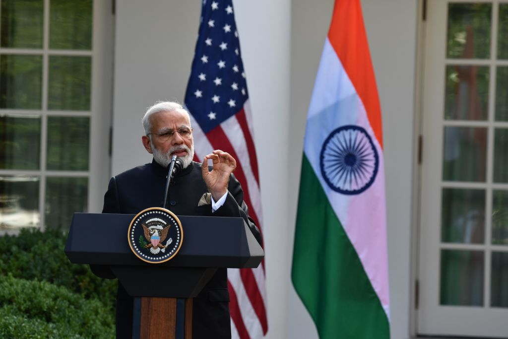 Indian Prime Minister Narendra Modi speaks during a joint press conference with U.S. President Donald Trump in the Rose Garden at the White House in Washington, D.C., June 26, 2017.