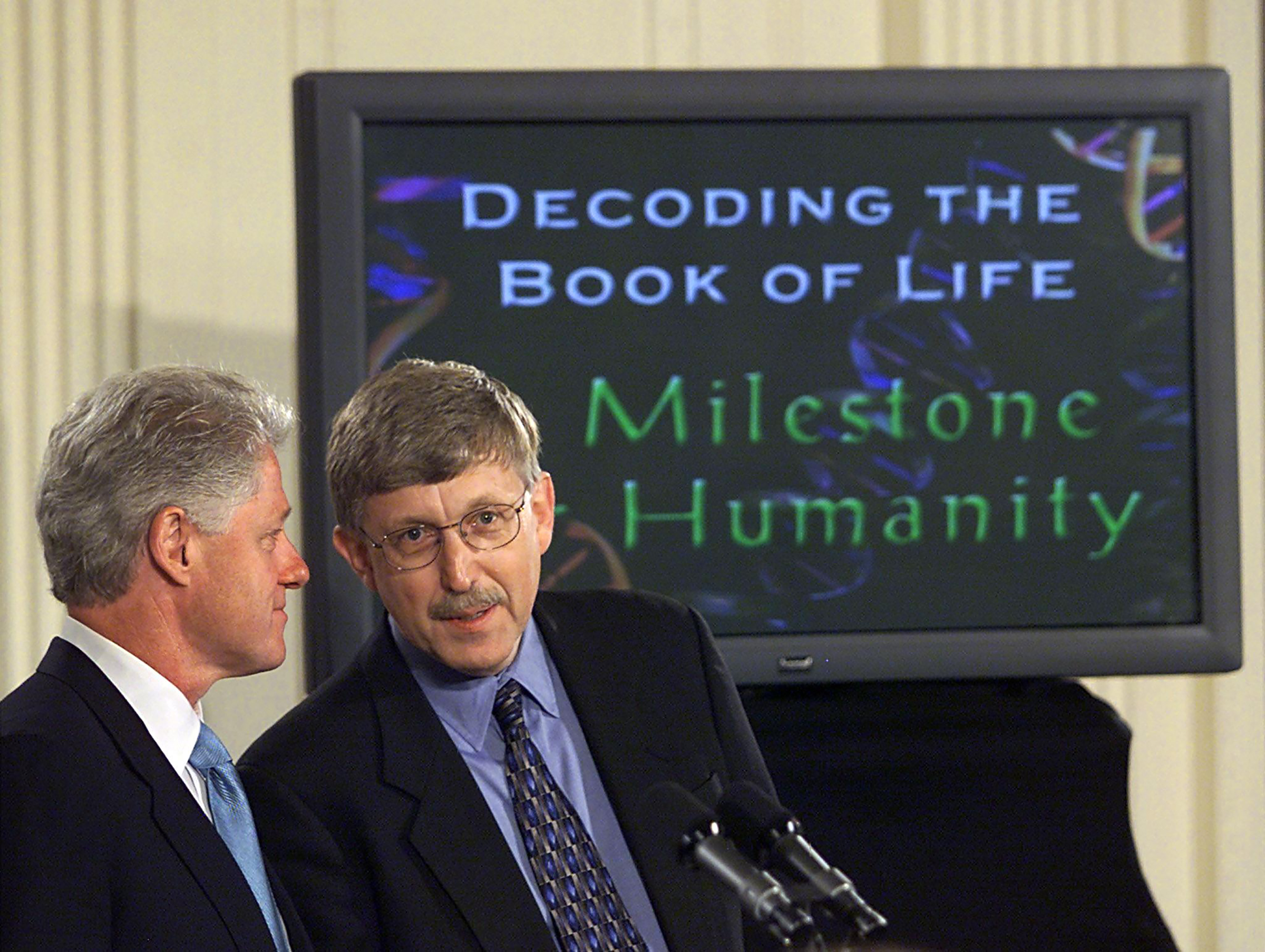 "The sequence of the human genome is revealed on June 26, 2000 and Bill Clinton hails the discovery's ""immense new power"""