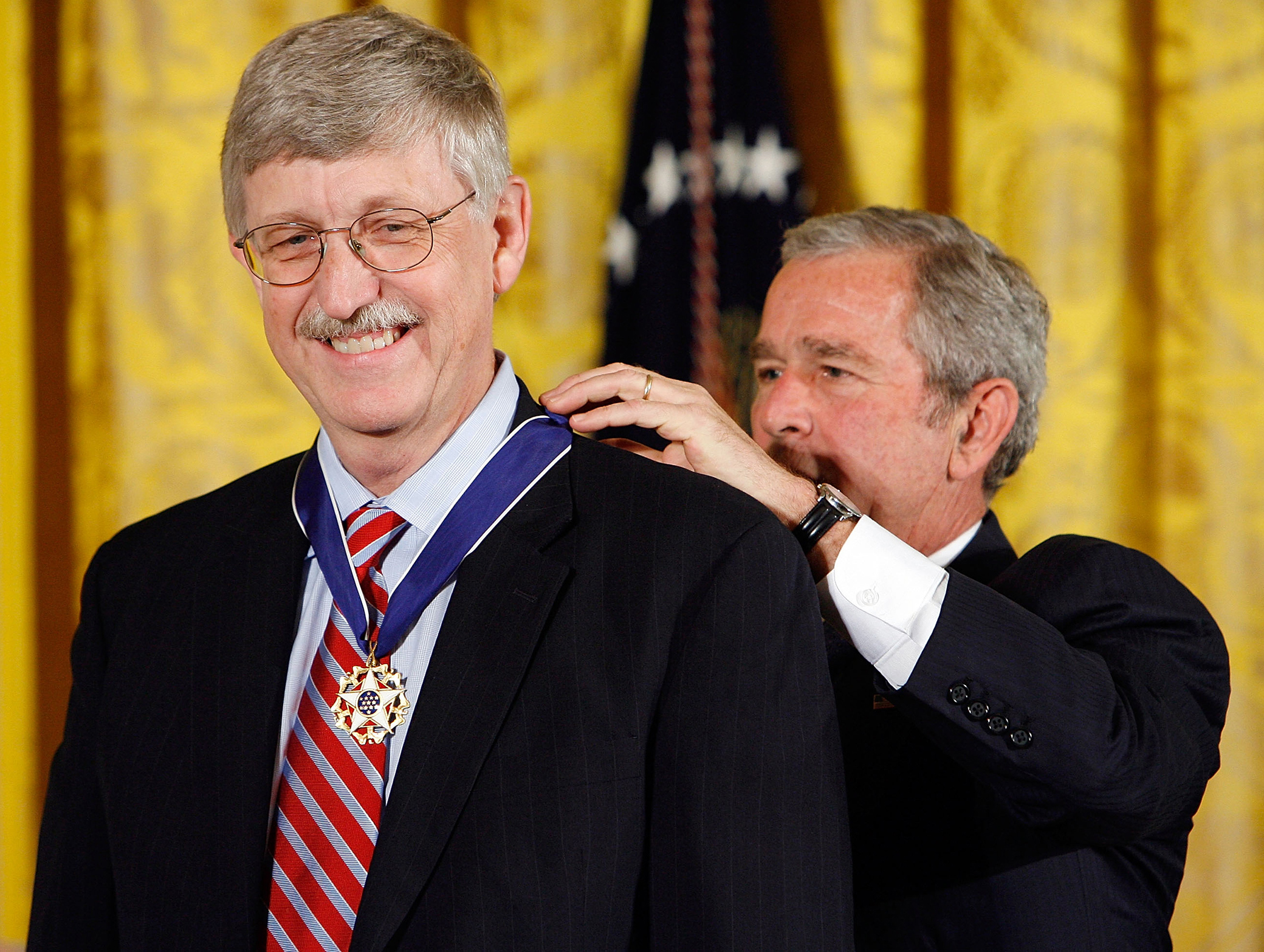 2007: George W. Bush awards Collins the presidential medal of freedom