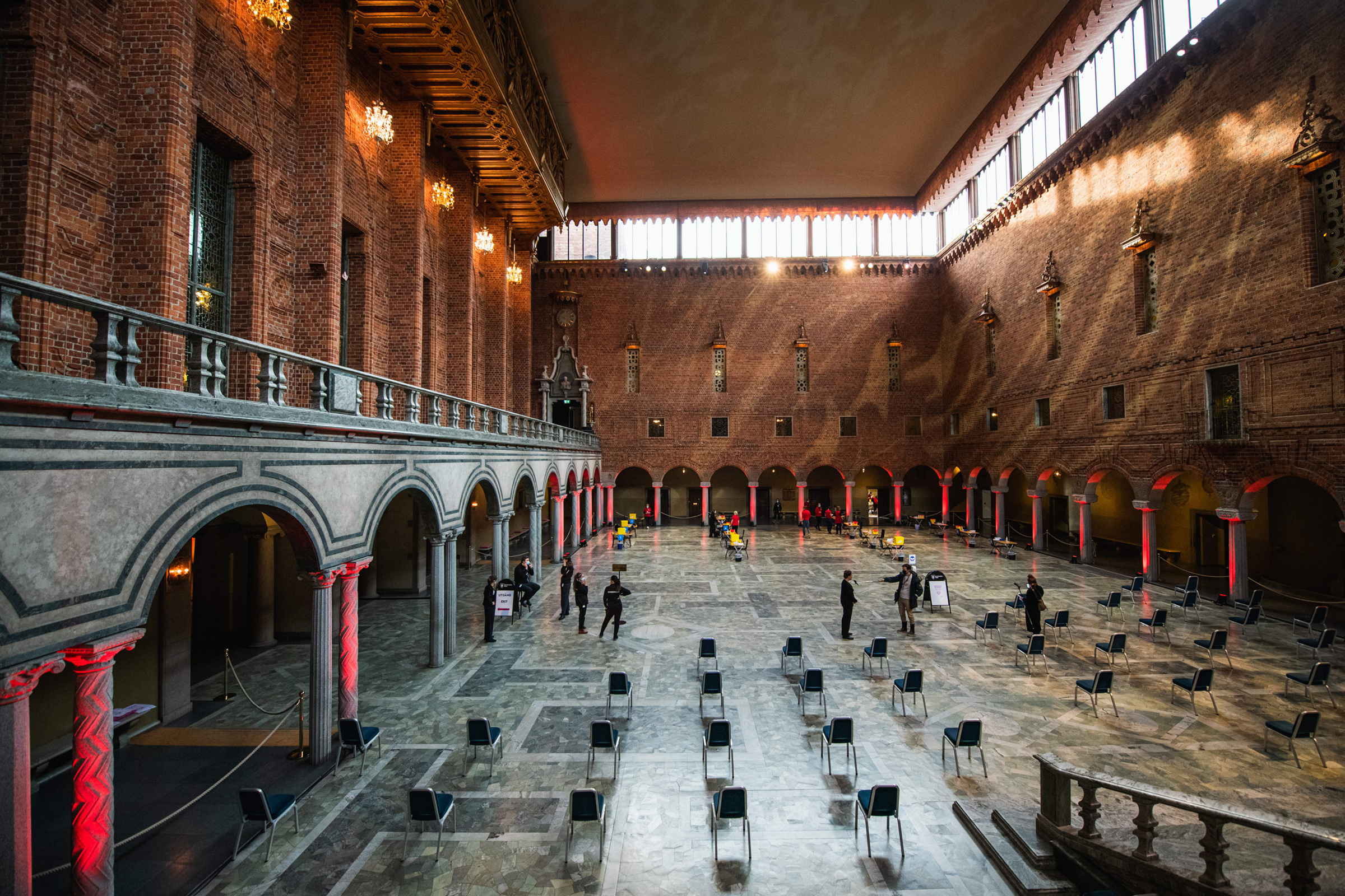 Preparations take place at Stockholm's City Hall to convert the Nobel Prize venue into a COVID-19 vaccination site on Feb. 21, 2021.