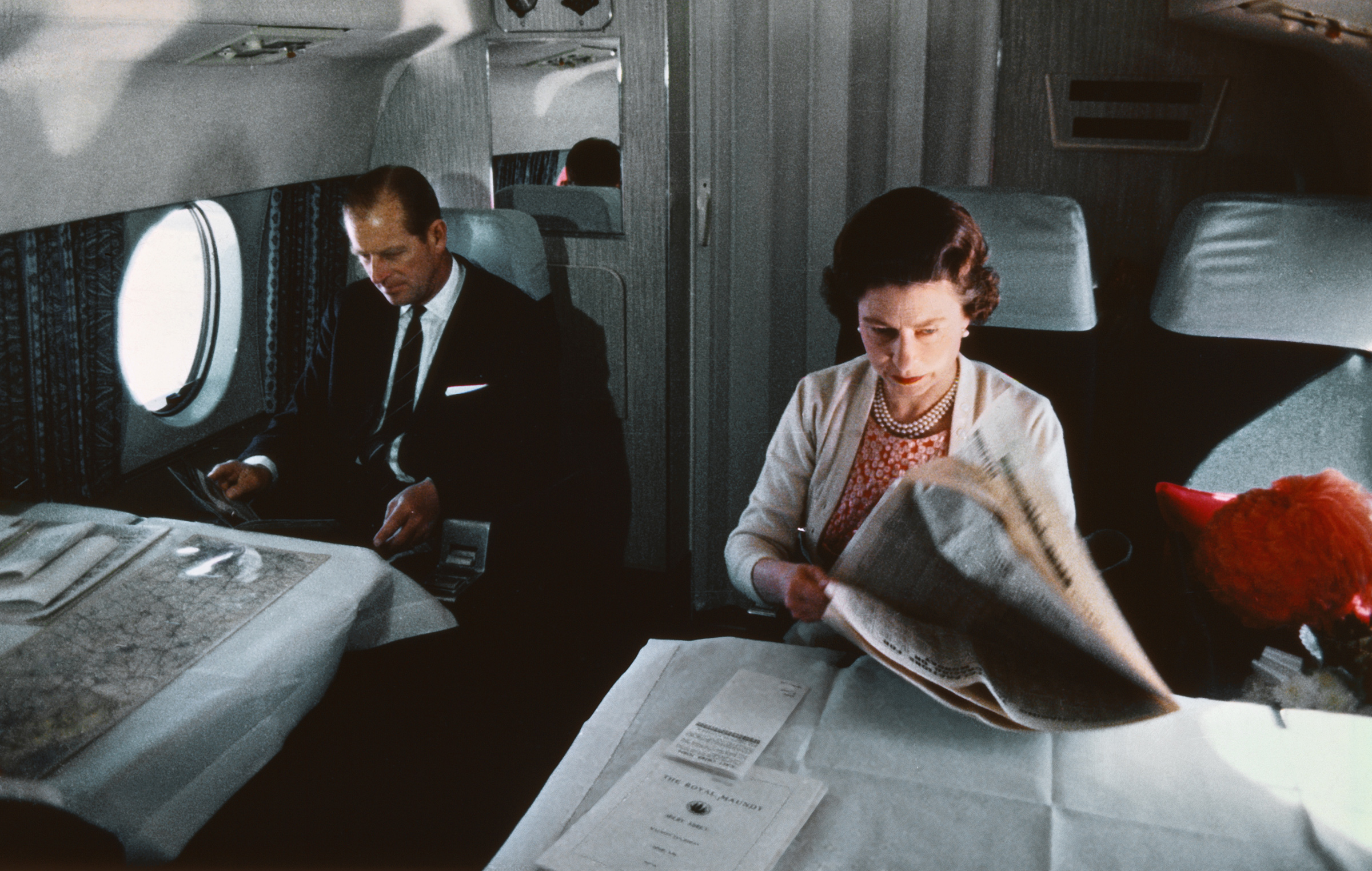 Queen Elizabeth II and Prince Philip fly back from a visit to Yorkshire in an Andover of the Queen's Flight, in a photo taken during the filming of the joint ITV-BBC film documentary The Royal Family, in 1969.