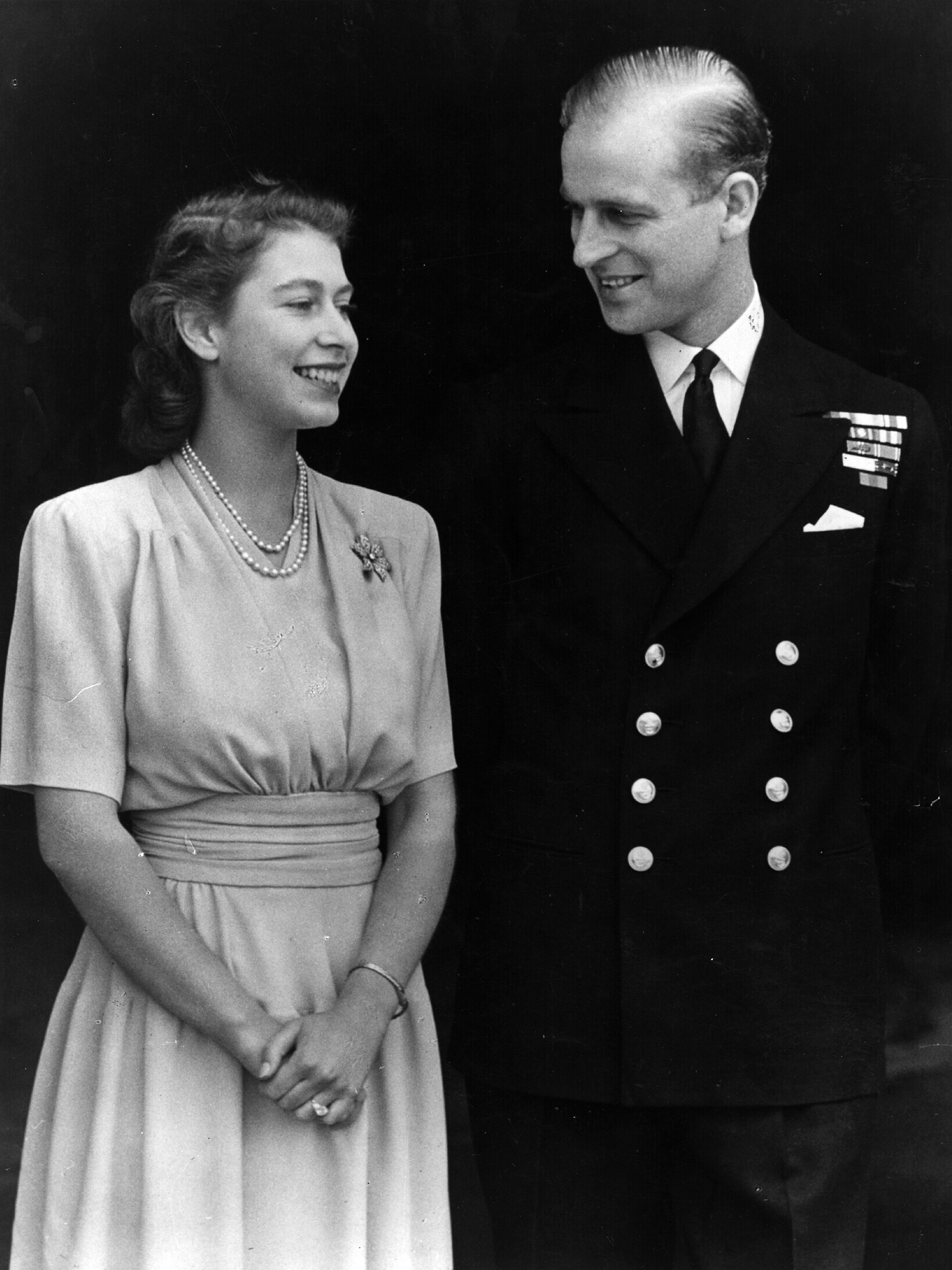 Princess Elizabeth and Philip Mountbatten on the occasion of their engagement at Buckingham Palace in London.