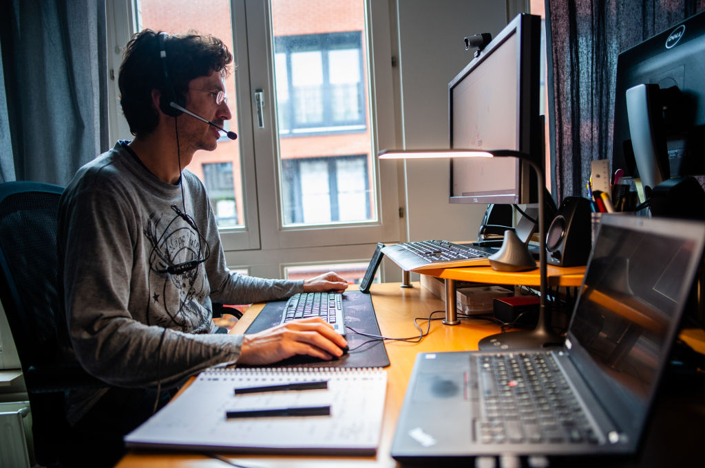 A man working from home during the coronavirus crisis.