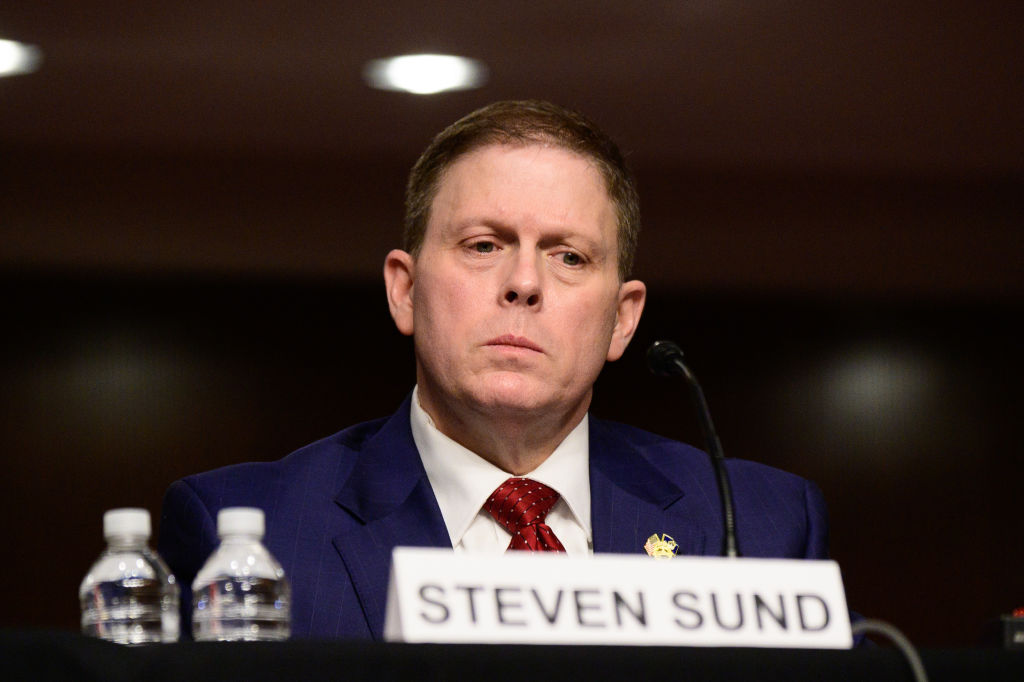 Former U.S. Capitol Police Chief Steven Sund testifies during a Senate Homeland Security and Governmental Affairs and Senate Rules and Administration joint hearing on February 23, 2021