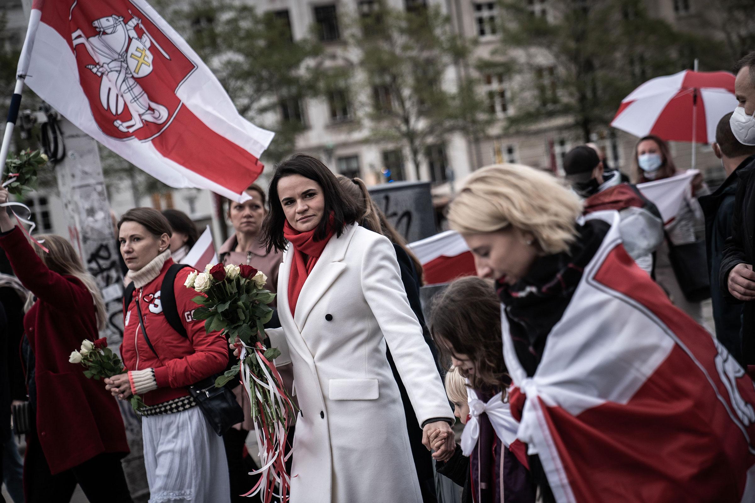 Belarusian opposition politician Svetlana Tikhanovskaya participates in a march organized by the organization Friends of Belarus Denmark on Oct. 23, 2020 in Copenhagen.