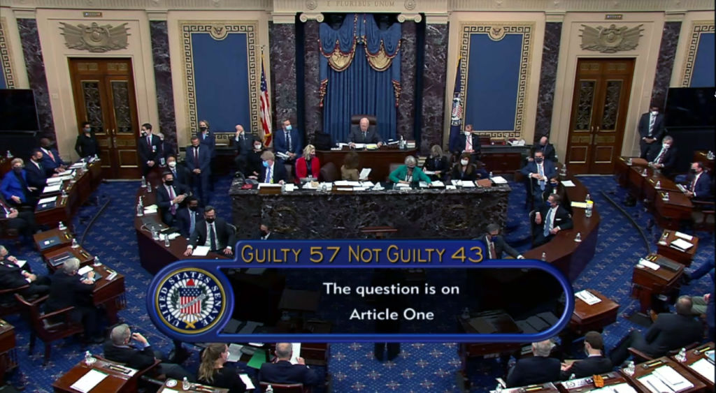 """In this screenshot taken from a congress.gov webcast, Senate votes 57-43 to acquit on the fifth day of former President Donald Trump's second impeachment trial at the U.S. Capitol on February 13, 2021 in Washington, DC. House impeachment managers had argued that Trump was """"singularly responsible"""" for the January 6th attack at the U.S. Capitol and he should be convicted and barred from ever holding public office again."""