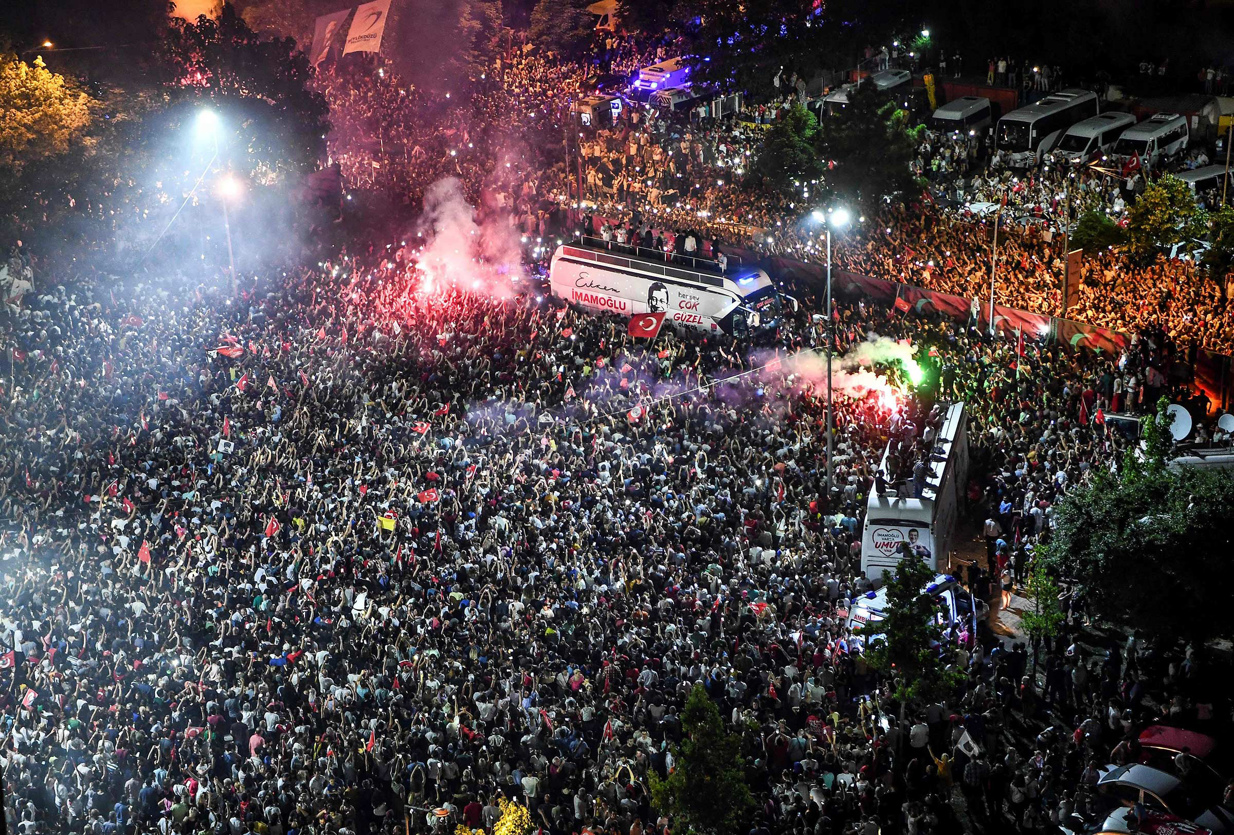 Thousands gathered to celebrate after the opposition candidate, Ekrem Imamoglu, emerged as winner of the repeat mayoral election in Istanbul on June 23, 2019.
