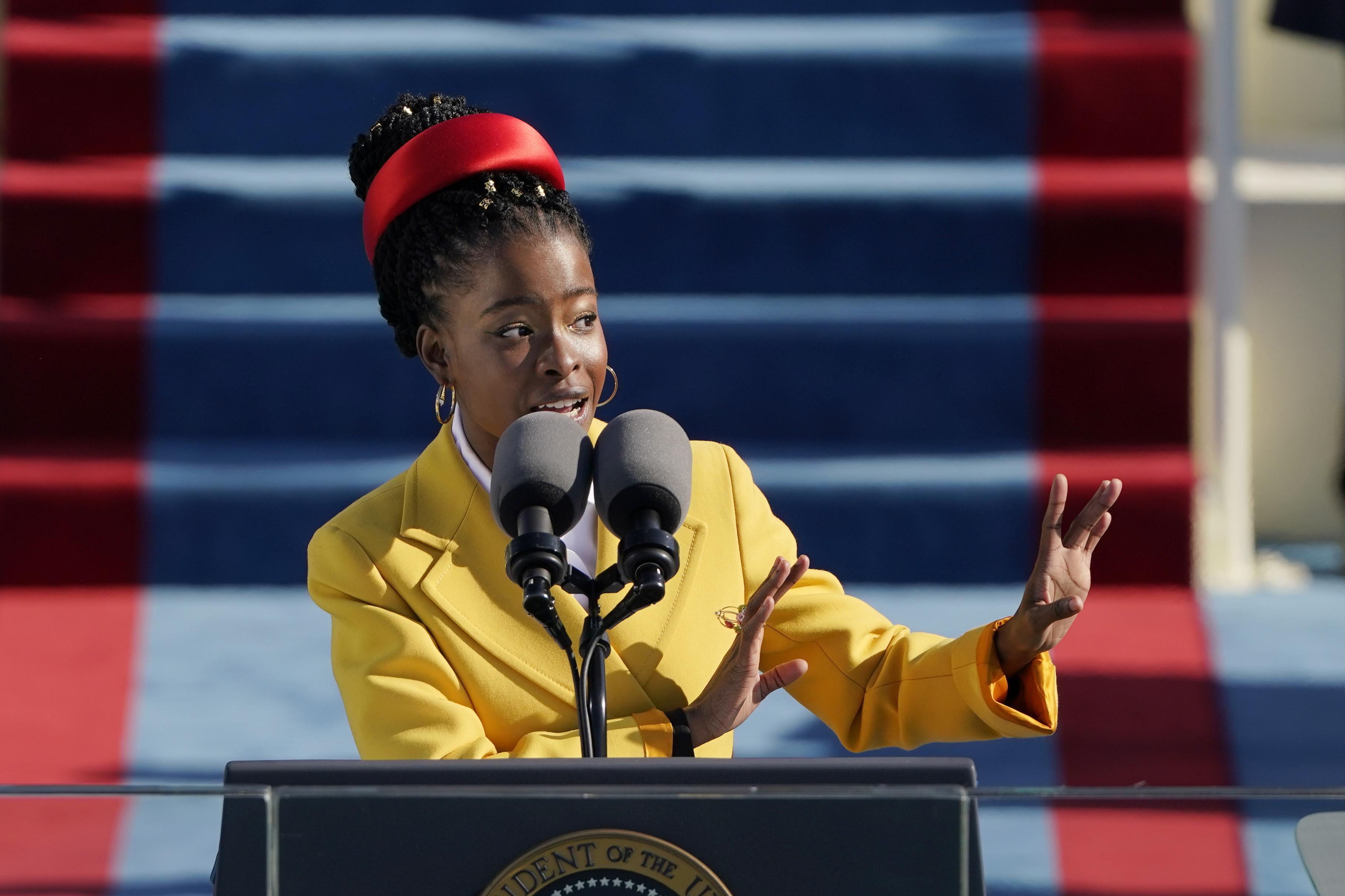American poet Amanda Gorman recites a poem during the Inauguration of U.S. President Joe Biden at the U.S. Capitol in Washington, D.C., on Jan. 20, 2021.