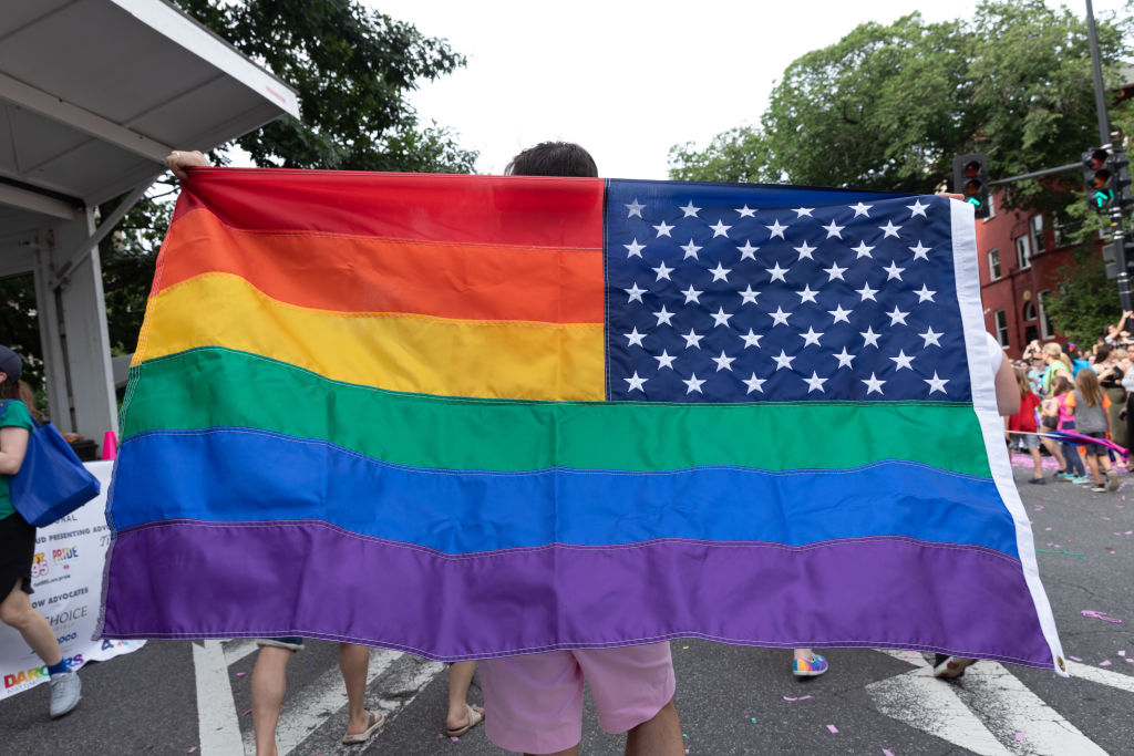 People take part in the LGBTQ Pride Parade in Washington, D.C. on June 8, 2019.