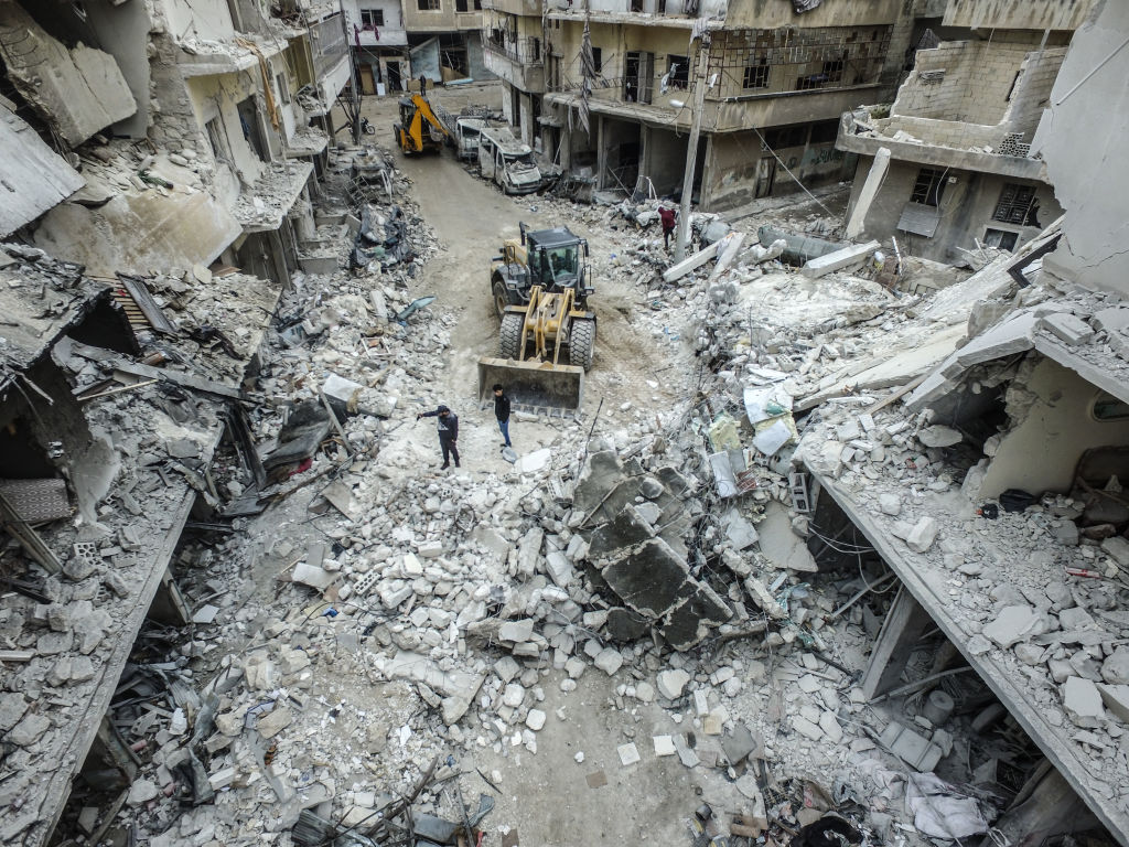 A drone photo shows collapsed and damaged buildings after Russian warplanes hit residential areas including a hospital and a bakery in Ariha district, south of Idlib, Syria on January 30, 2020.