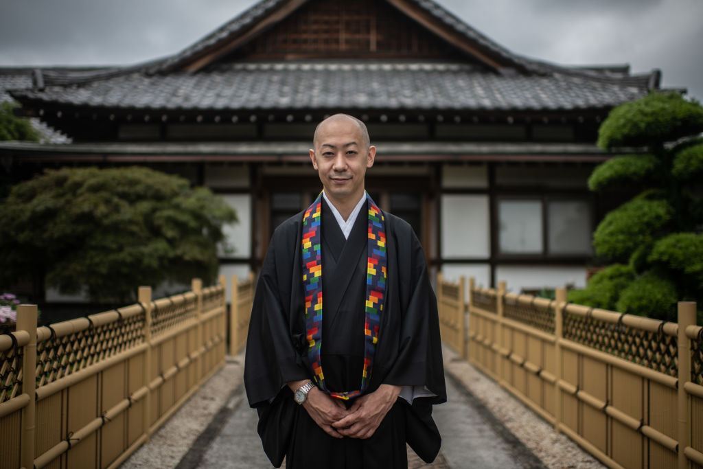 Deputy chief priest Myokan Senda poses for a photograph at Saimyo-ji Buddhist Temple where he has announced he will conduct LGBT weddings after local authorities formally recognised same-sex partnerships in May, on June 25, 2020 in Kawagoe, Japan.