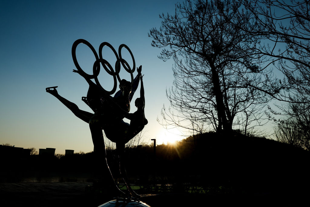 A sculpture depicts Olympic figure skaters for the 2022 Beijing Winter Olympics at Shougang Park on December 16, 2020 in Beijing, China.
