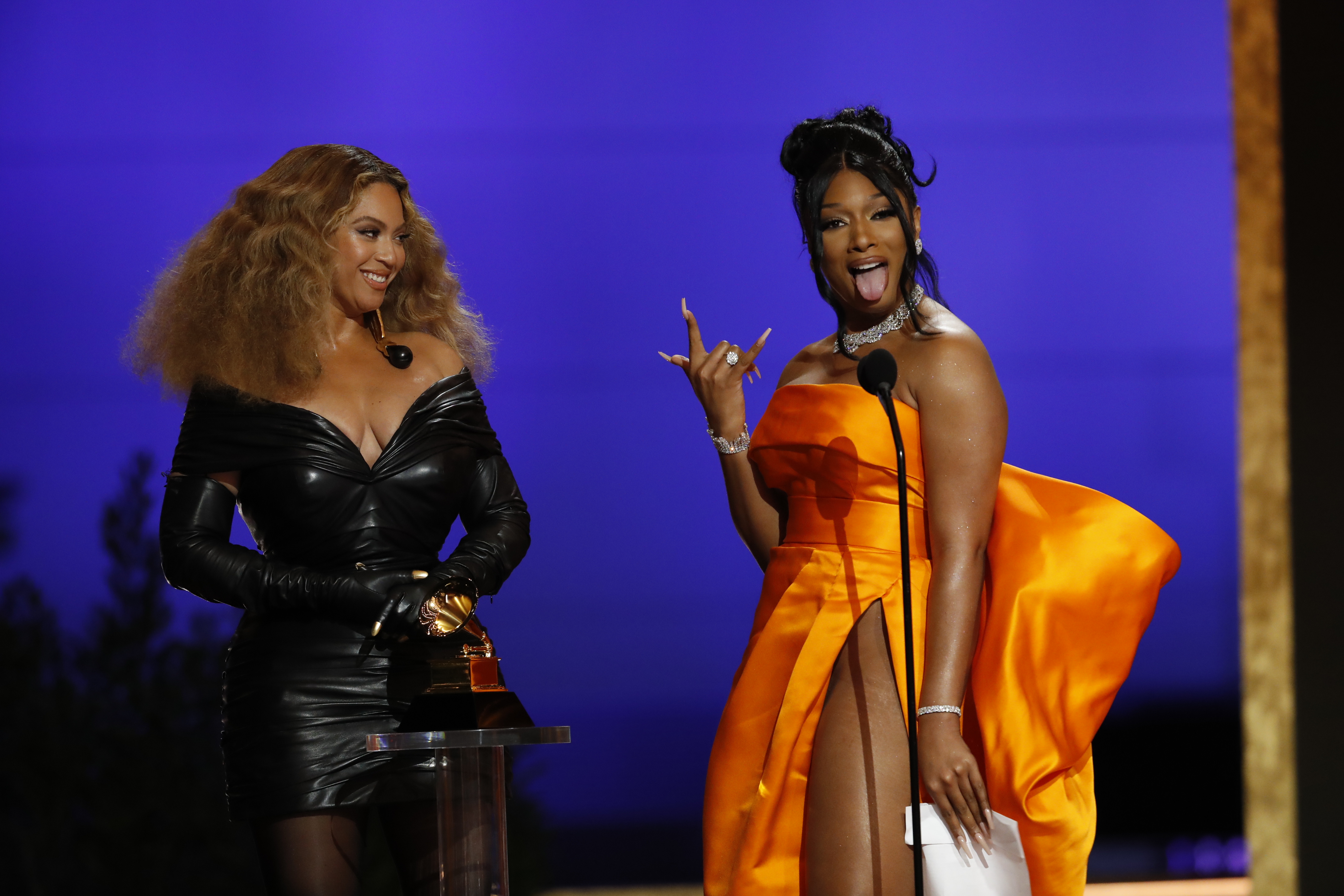 Beyoncé and Megan Thee Stallion win the award for Best Rap Song at the 63rd Annual Grammy Awards, broadcast live from the STAPLES Center in Los Angeles, Sunday, March 14, 2021.