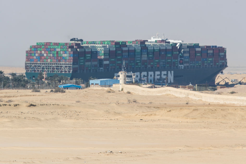 The container ship, the Ever Given, is seen at the Suez Canal on March 28, 2021 in Suez, Egypt.