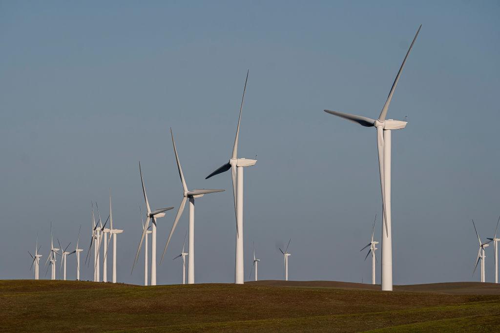 Wind turbines at a wind farm near Highway 12 in Rio Vista, California, on March 30, 2021.