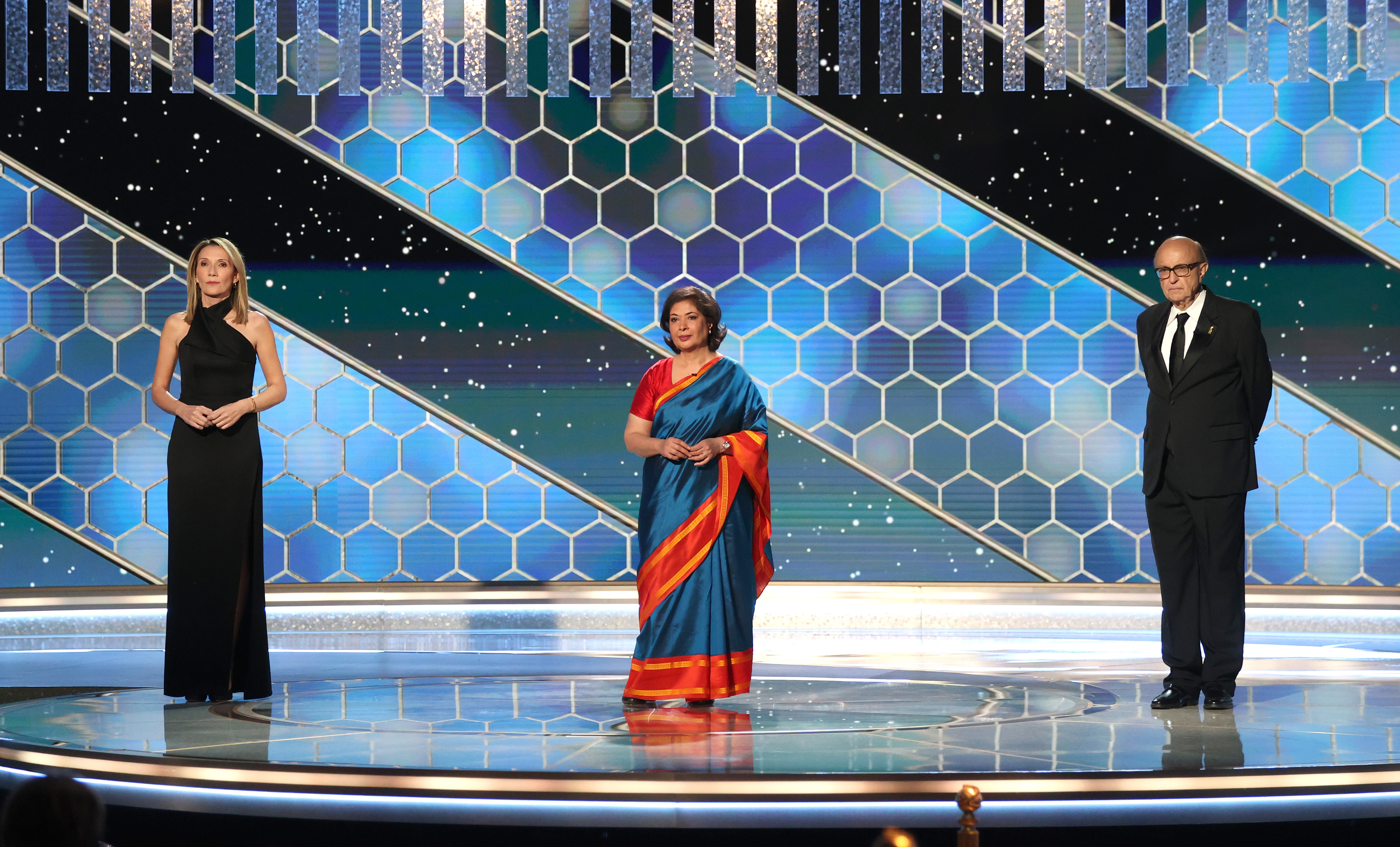 HFPA Vice President Helen Hoehne, HFPA Board Chair Meher Tatna and HFPA President Ali Sar make vague commitments to address the issues within their organization during the Golden Globes broadcast