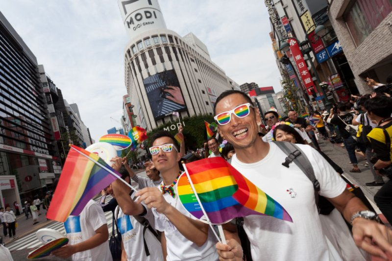 Colourful costumes and signs seen during the parade at the sixth annual Tokyo Rainbow Pride event, on May 7, 2017 in Tokyo, Japan.