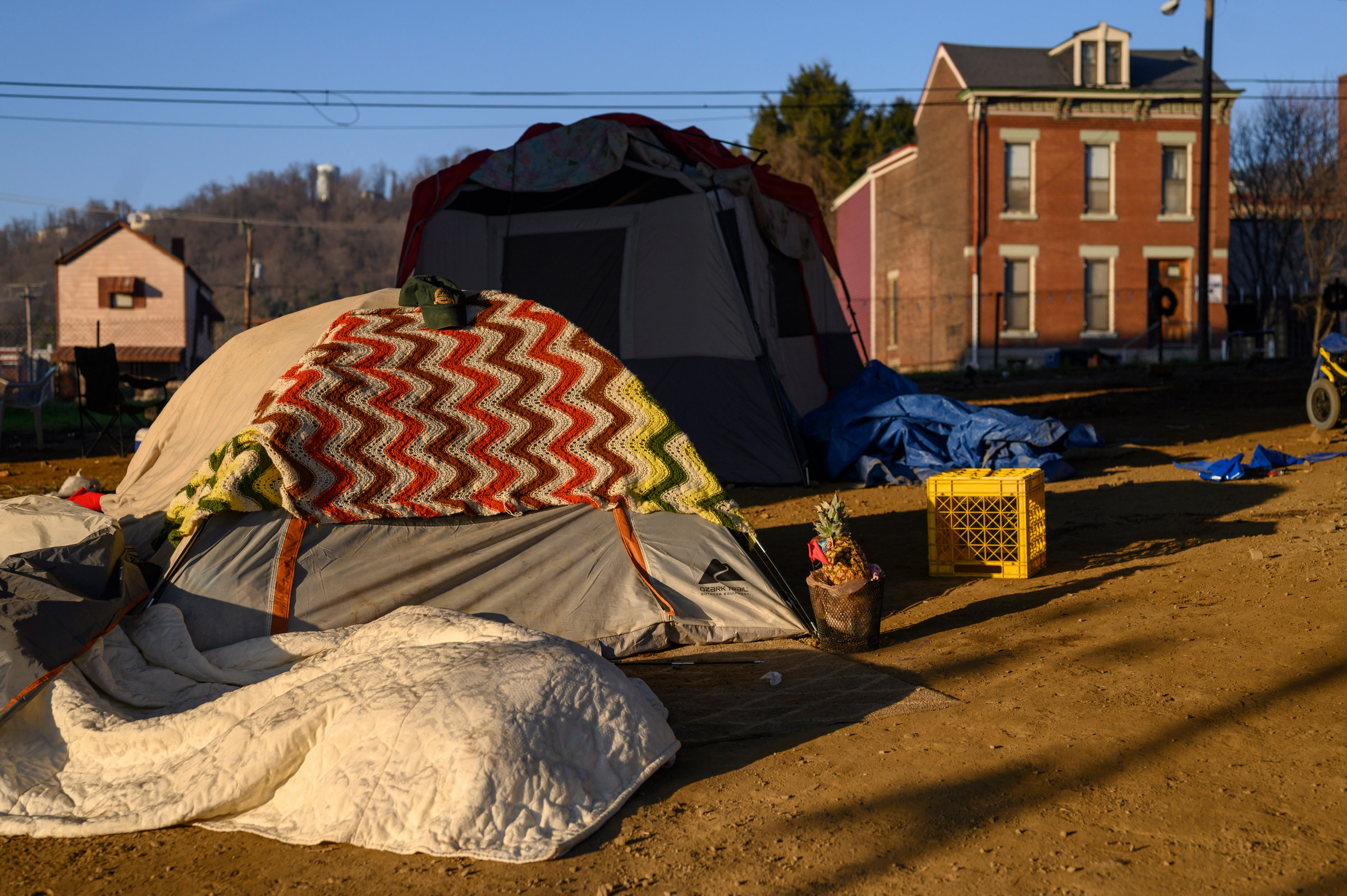 A tent encampment erected during the pandemic to move some of the most vulnerable of the unhoused population closer to a shower and handwashing station set up by House of Hagar after many agencies stopped offering services.