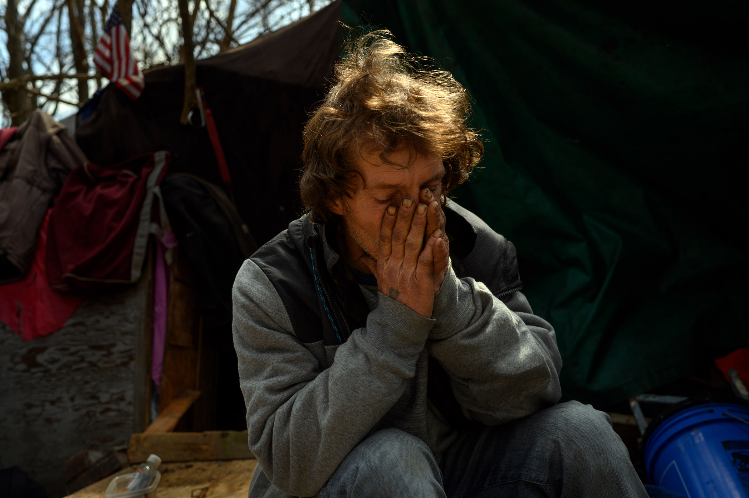 Ron at his hillside encampment on March 16, the day the winter shelter closed for the next nine months.