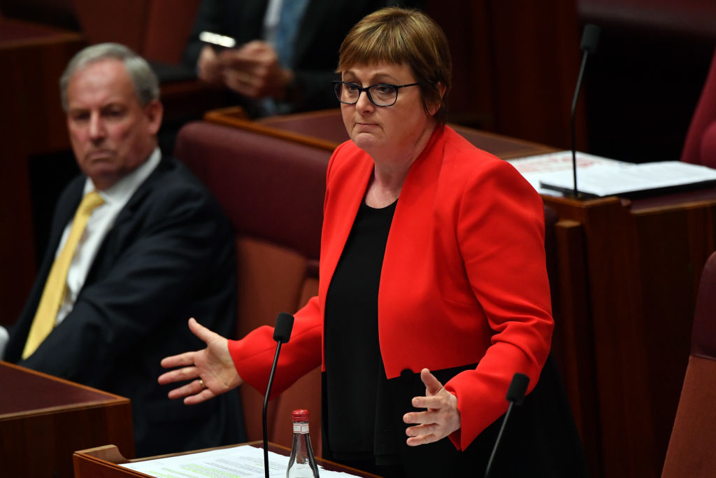 Defense Minister Linda Reynolds gestures during Question Time in the Senate on Feb. 22, 2021 in Canberra, Australia following allegations that a former staffer, Brittany Higgins, was sexually assaulted by a colleague in Reynolds' office in Parliament House in 2019.