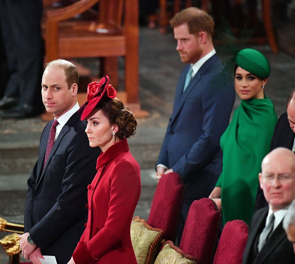 Prince Harry and Meghan, the Duke and Duchess of Sussex, sit behind Prince William, the Duke of Cambridge, and Catherine, the Duchess of Cambridge, inside Westminster Abbey in London on March 9, 2020.