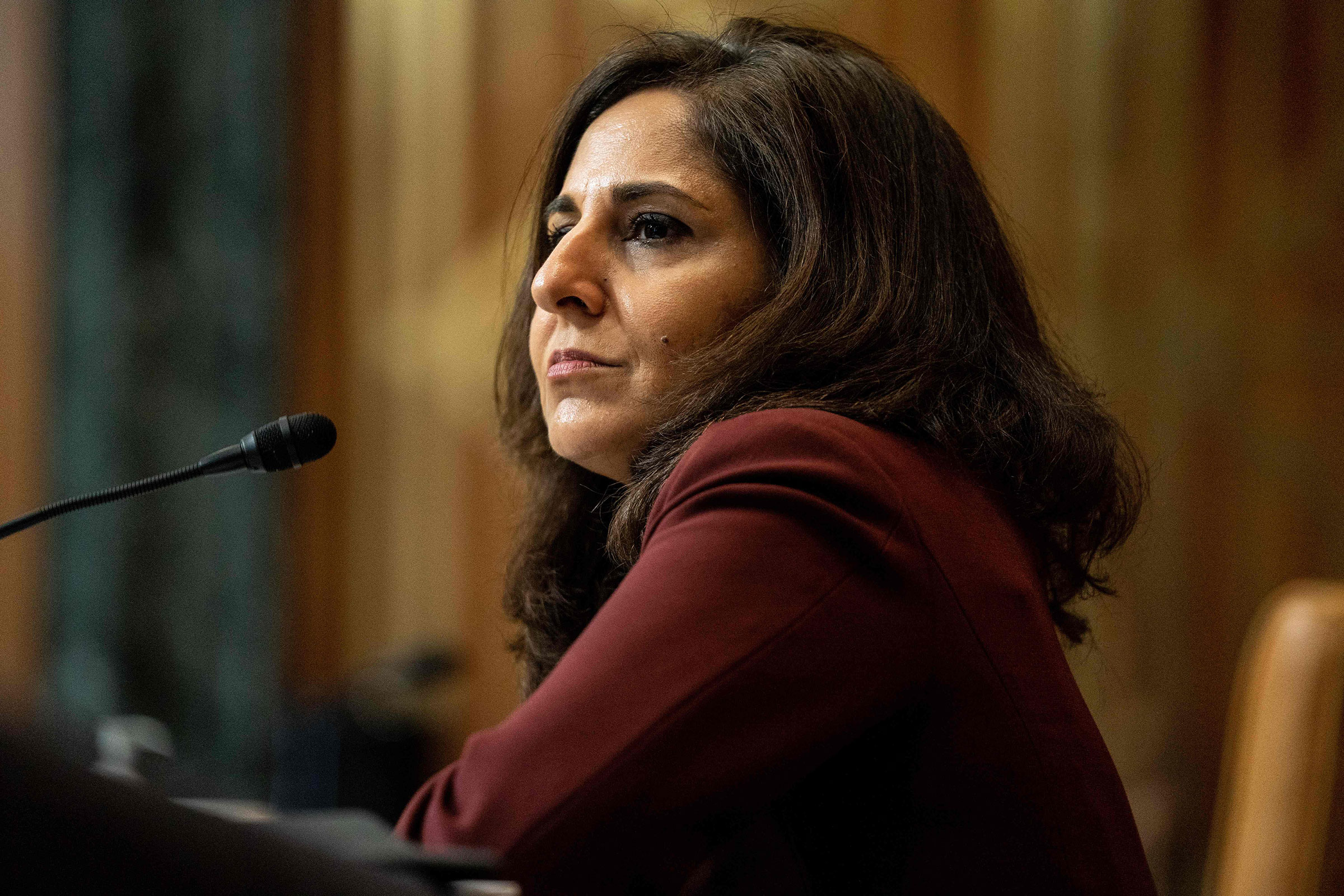 Neera Tanden, nominee for Director of the Office of Management and Budget, testifies during a Senate Committee on the Budget hearing on Capitol Hill in Washington, on Feb. 10, 2021.
