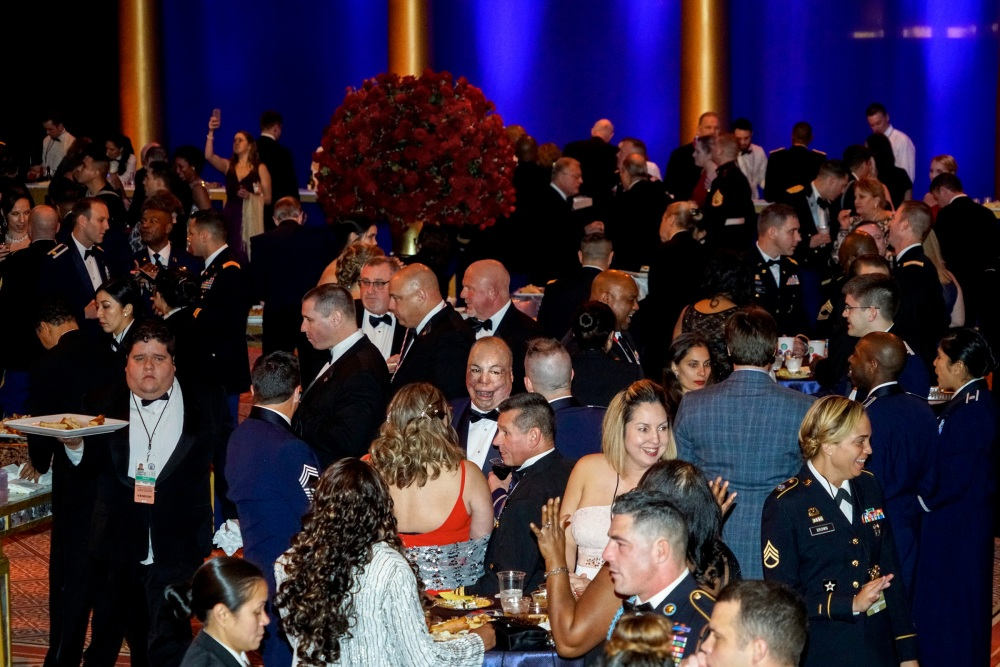 The Armed Services Ball at the Na- tional Building Museum on the eve- ning of Donald Trump's inauguration. Washington, DC. USA. 2017.