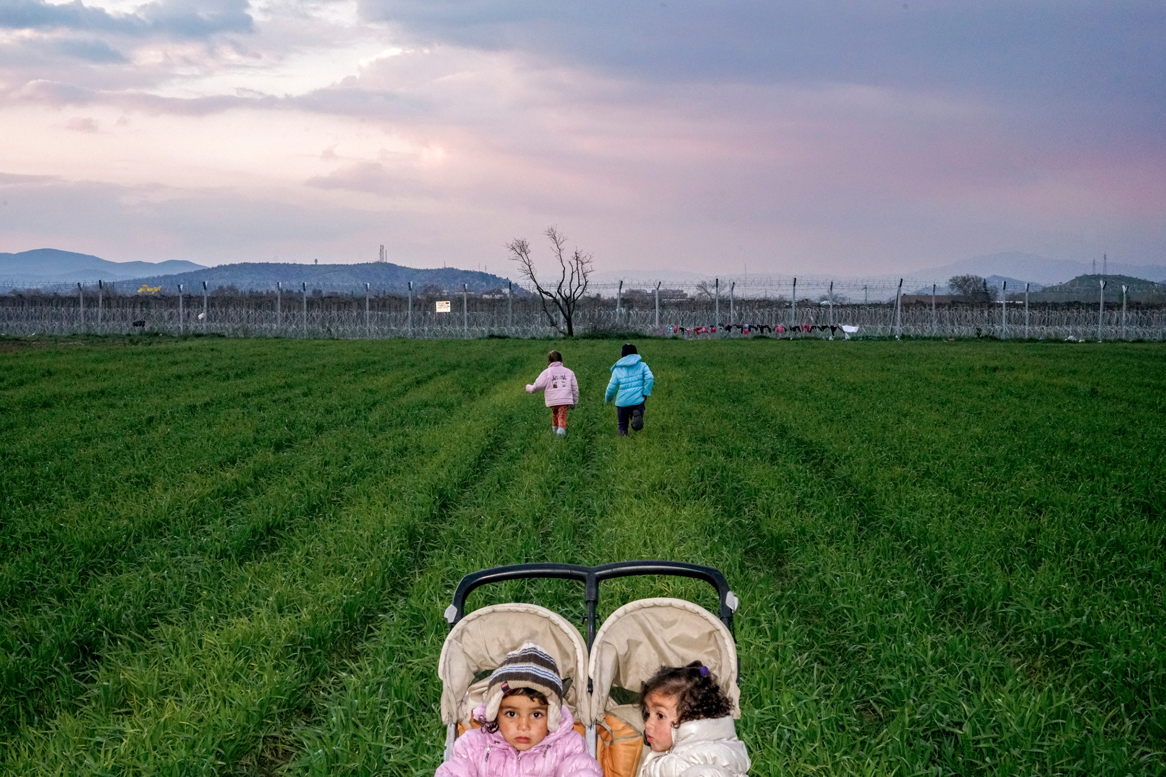 Children in the Idomeni refugee camp on the Greece-Macedonia border after Macedonia sealed its border. Idomeni. Greece, 2016.