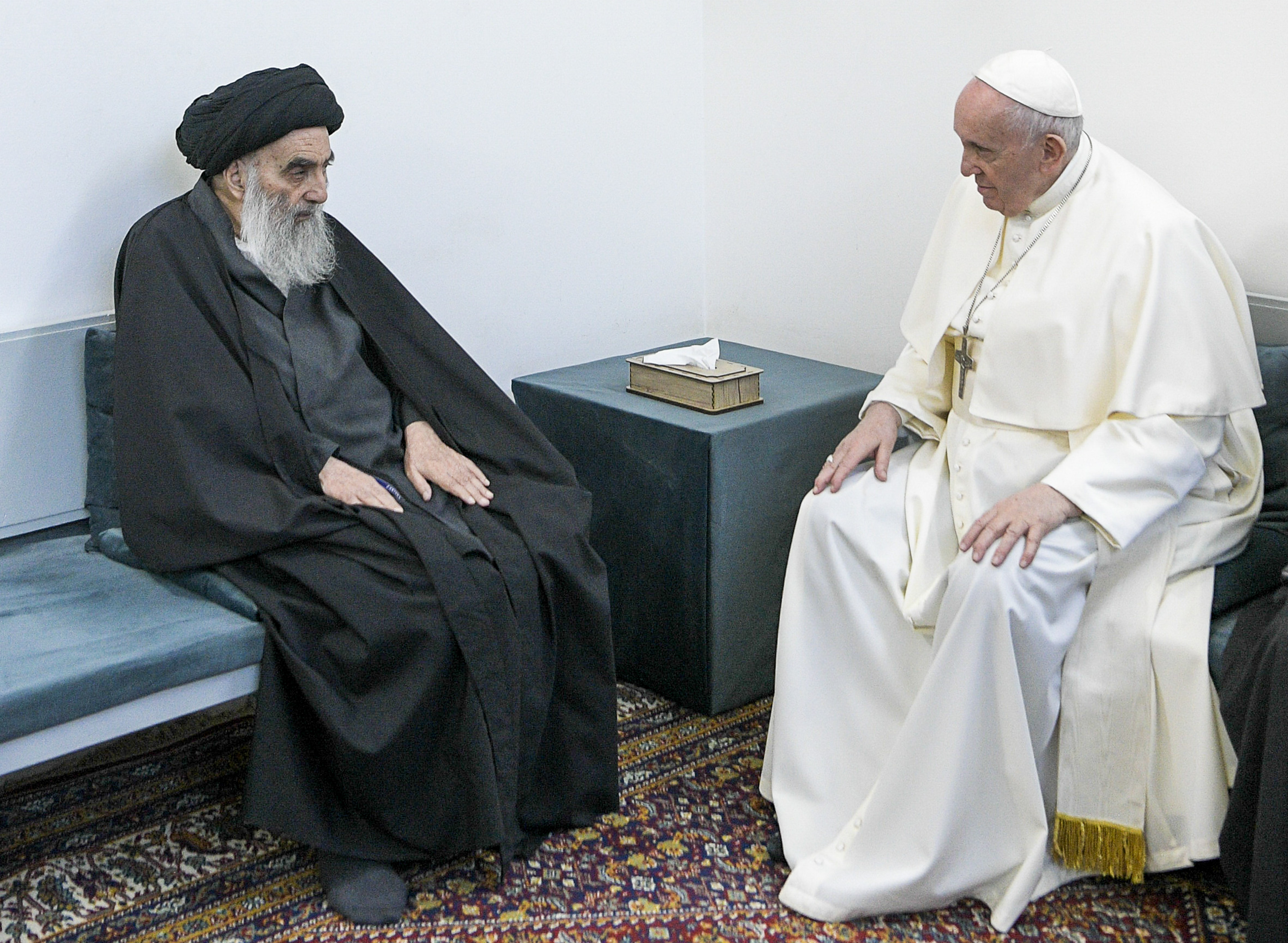 Pope Francis, right, meets with Iraq's leading Shiite cleric, Grand Ayatollah Ali al-Sistani in Najaf, Iraq, on March 6, 2021.