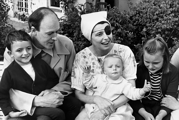 Actor Patricia Neal recovering at home after a stroke with her husband, author Roald Dahl, and their three children, (l-r) Theo, Ophelia and Tessa, in Great Missenden, England, in 1965.
