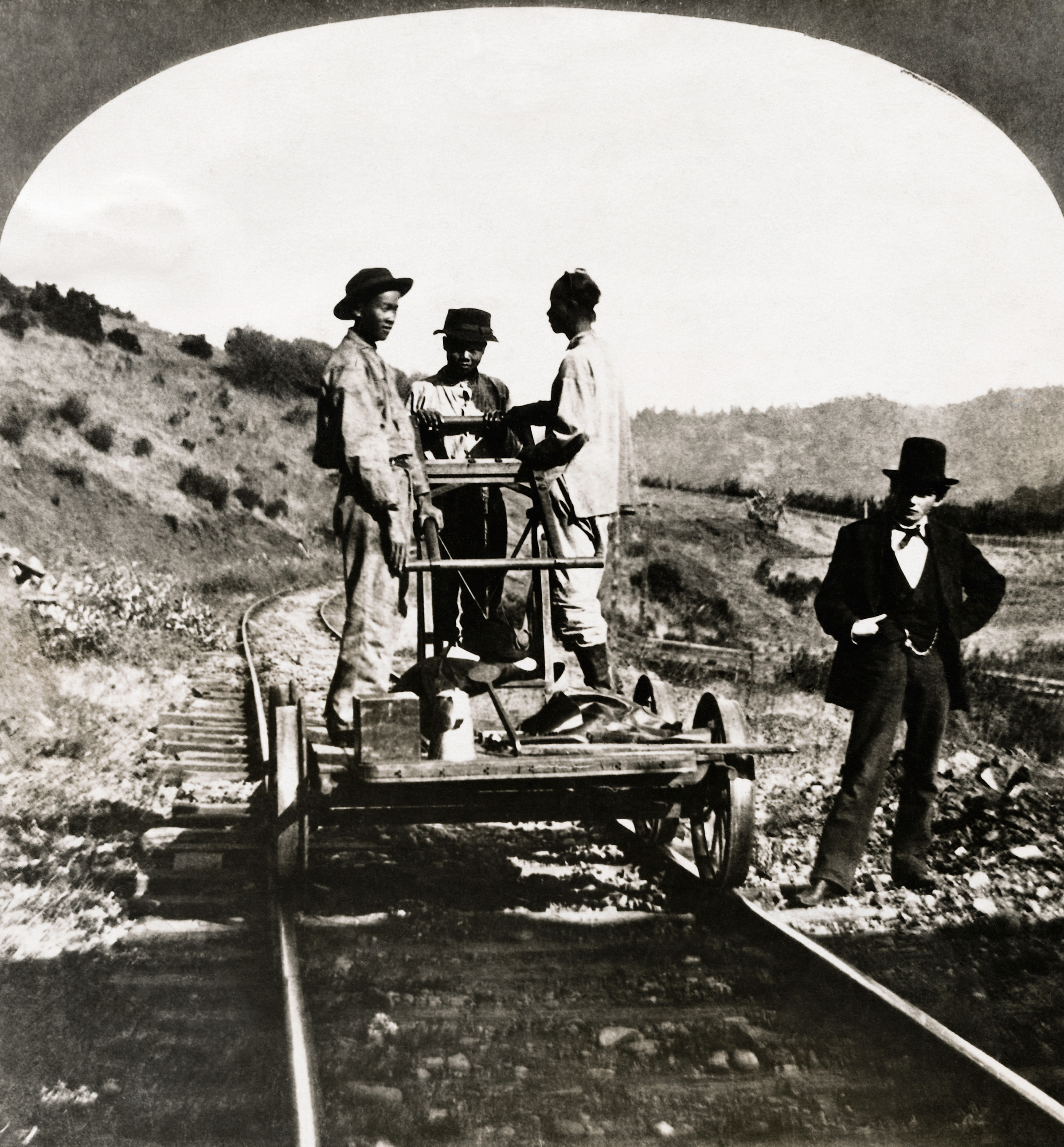 In early California, thousands of Chinese immigrants were employed by the railroads to do the toughest work; circa 1890.