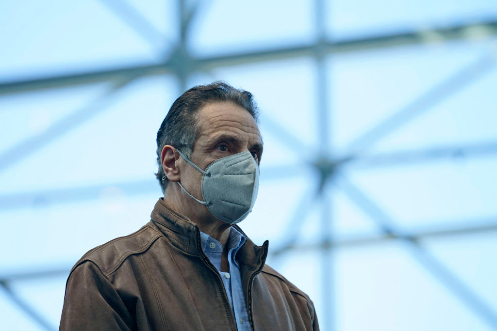 New York Gov. Andrew Cuomo listens to speakers at a vaccination site on March 8, 2021 in New York.