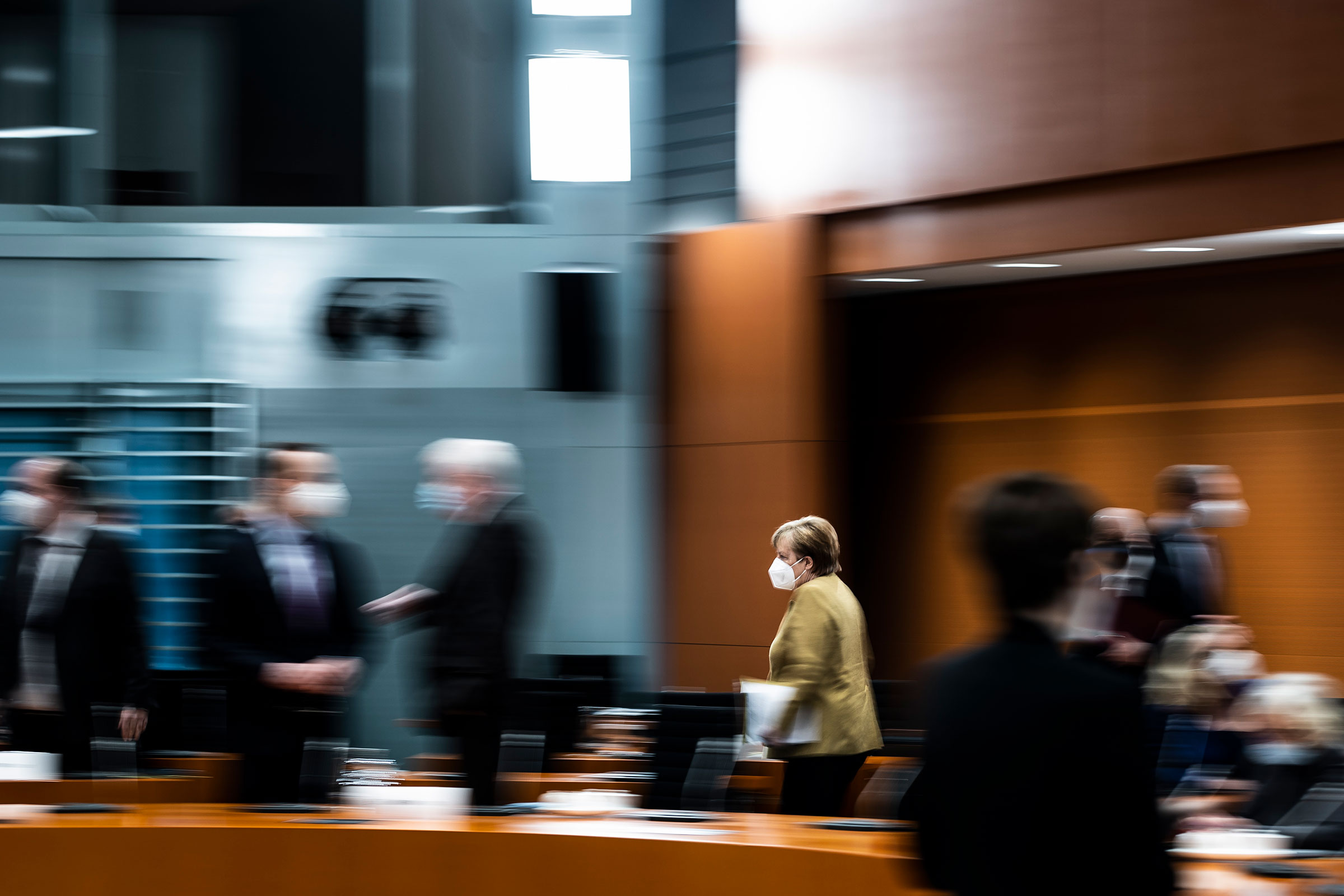 German Chancellor Angela Merkel arrives for the weekly meeting of the cabinet in Berlin, Germany on March 17, 2021.