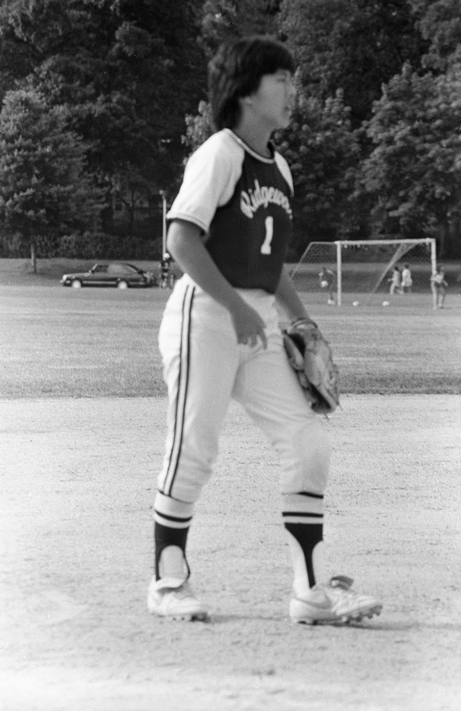 Ng playing softball at Ridgewood High School in 1986